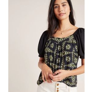 Anthropologie Maeve Catania Puff Sleeve Print Top